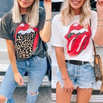 Chic Style Red-lip Printed Short Sleeve Round Neck T-shirt
