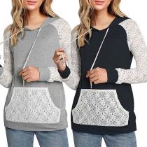 Fashion Lace Spliced Long Sleeve Hooded Sweatshirt