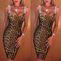 Sexy Backless Leopard Printed Slim Fit Sling Dress