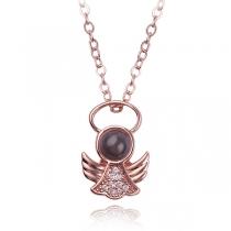 Fashion Rhinestone Inlaid Alloy Pendant Necklace