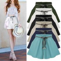 Fashion Solid Color Elastic Waist Wide-leg Shorts