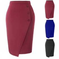 OL Style Solid Color High Waist Slim Fit Pencil Skirt