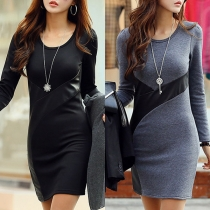Fashion Long Sleeve Round Neck PU Leather Spliced Dress