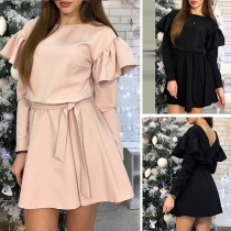 Sexy Backless Lotus Sleeve High Waist Solid Color Dress