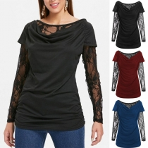 Sexy Lace Spliced Long Sleeve Cowl Neck T-shirt