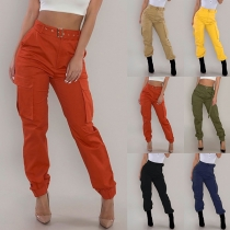 Fashion Solid Color High Waist Side-pocket Casual Pants