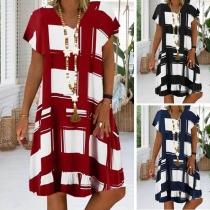 Chic Style Short Sleeve V-neck Loose Plaid Dress