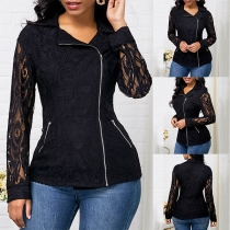 Fashion Long Sleeve POLO Collar Side-zipper Slim Fit Lace Top