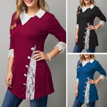 Fashion Lace Spliced Long Sleeve Oblique Collar Top