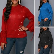 Fashion Solid Color Long Sleeve Round Neck Beaded Knit Top