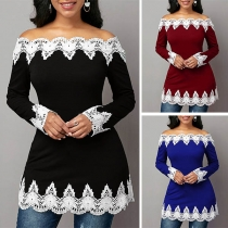 Sexy Lace Spliced Boat Neck Long Sleeve Slim Fit Top