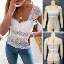 Sexy Square Collar Short Sleeve Slim Fit See-through Lace Top
