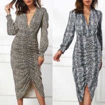 Sexy Deep V-neck Slit Hem Long Sleeve Leopard/Serpentine Printed Dress