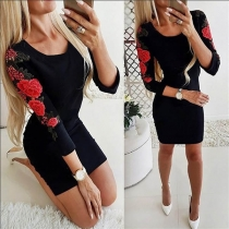 Fashion Embroidered Spliced Long Sleeve Round Neck Slim Fit Dress