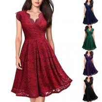 Sexy V-neck Sleeveless High Waist Lace Dress