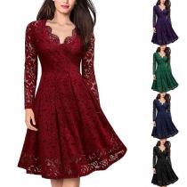 Sexy V-neck Long Sleeve High Waist Lace Dress