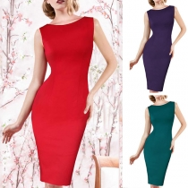 Sexy Hollow Out Lace Spliced Sleeveless Round Neck Slim Fit Pencil Dress