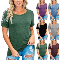 Fashion Leoppard Spliced Short Sleeve Round Neck T-shirt
