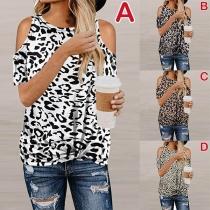 Sexy Off-shoulder Short Sleeve Twisted Hem Leopard Printed T-shirt