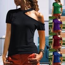Sexy Off-shoulder Short SLeeve Solid Color T-shirt