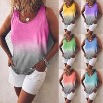 Fashion Color Gradient Round Neck Tank Top