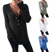 Fashion Solid Color Long Sleeve V-neck Loose T-shirt