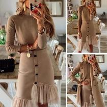 Fashion Long Sleeve Turtleneck Top + Gauze Spliced Hem Skirt Two-piece Set