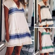 Chic Style Contrast Color Short Sleeve V-neck Tassel Spliced Dress