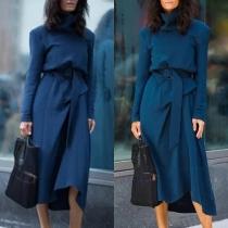 Elegant Solid Color Long Sleeve Turtleneck Dress with Waist Strap
