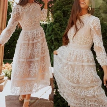 Sweet Style Long Sleeve Round Neck High Waist Lace Dress