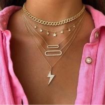 Fashion Star Lightning Pendant Multi-layer Necklace
