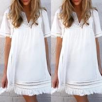 Fashion Short Sleeve V-neck Tassel Spliced Hem Dress