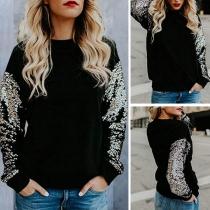 Fashion Sequin Spliced Long Sleeve Round Neck Sweatshirt