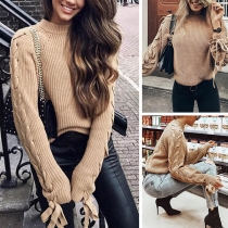 Fashion Solid Color Lace-up Long Sleeve Round Neck Sweater