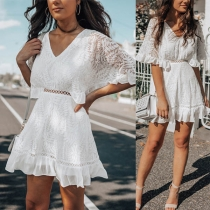 Sexy Lace Spliced V-neck Half Sleeve Ruffle Hem Dress