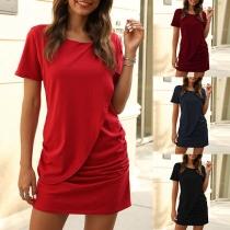 Fashion Solid Color Short Sleeve Round Neck Wrinkled Dress