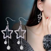 Fashion Rhinestone Inlaid Star Pendant Earrings