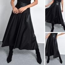 Fashion Solid Color High Waist PU Leather Skirt with Waistband