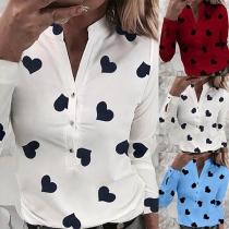 Sweet Style Long Sleeve V-neck Heart Printed Shirt