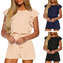 Fashion Solid Color Lotus Sleeve Round Neck High Waist Romper(The size runs big)