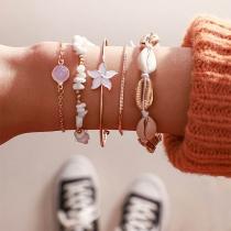 Bohemian Style Flower Shell Beaded Bracelet Set 5 pcs/Set