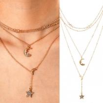 Fashion Crescent Star Pendant Multi-layer Necklace