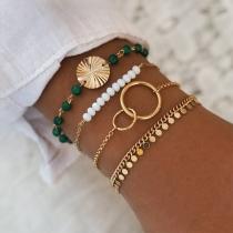 Fashion Contrast Color Beaded Bracelet Set 4 pcs/Set