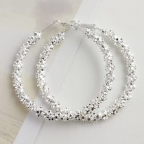 Fashion Silver-tone Round Circle Shaped Earrings