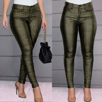 Fashion High Waist Slim Fit Striped Pants