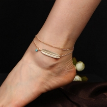 Bohemian Style Feather Pendant Double-layer Anklet
