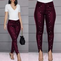 Fashion High Waist Slim Fit Rhinestone Spliced Pants