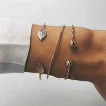 Fashion Leaf Shaped Alloy Open Bracelet Set 3 pcs/Set