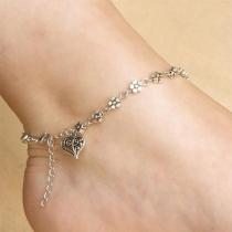 Fashion Heart Pendant Plum Blossom Anklet