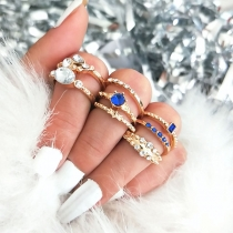 Fashion Rhinestone Inlaid Ring Set 8 pcs/Set